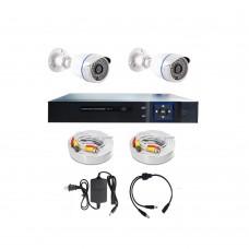 /KIT-2BP720:  KIT DE CCTV TODO EN UNO DE 2 CAMARAS BALA METALICAS 720P 36 LED CON DVR TRIBRIDA 720P