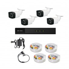 /KIT-4BP1080ECO:  KIT DE CCTV TODO EN UNO DE 4 CAMARAS BALA PLASTICAS 1080P 24 LED CON XVR PENTAHÍBRIDA 1080P
