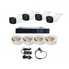 /KIT-4BP720ECO:  KIT DE CCTV TODO EN UNO DE 4 CAMARAS BALA PLASTICAS 720P 24 LED CON DVR TRIBRIDA 720P