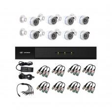 /KIT-8BP1080B: KIT DE CCTV TODO EN UNO DE 8 CAMARAS BALA 1080P 36 LED CON XVR PENTAHÍBRIDA 1080P