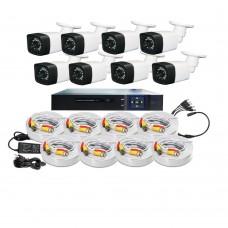 /KIT-8BP720ECO:  KIT DE CCTV TODO EN UNO DE 8 CAMARAS BALA PLASTICAS 720P 24 LED CON DVR TRIBRIDA 720P
